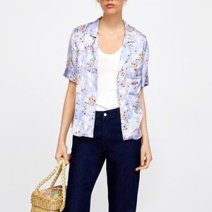 Floral short sleeve button up